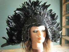 Moulin Rouge Burlesque CanCan cabaret black feather sequin headdress 17 inch