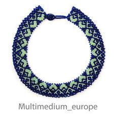Perlen halsband im Art Deco Stil Collier blau grün beads blue green necklace