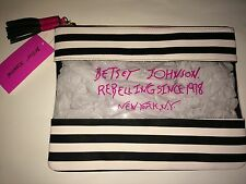 NWT BETSEY JOHNSON Clear Striped Tassel Flat Cosmetic Makeup Bag Rebelling Chic