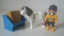 LOT PIÈCES FIGURINES PLAYMOBIL - SET 3119 PONEY & ENFANT PONY RIDER