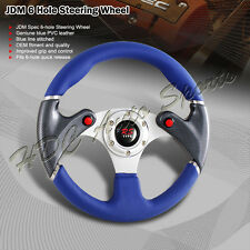 320MM Blue PVC Leather NOS Button Carbon Look 6-Hole Steering Wheel Universal 3
