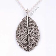St Justin Pewter Veined Leaf Pendant Silver Plated Necklace in Gift Box PN759