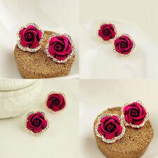 Fashion Korean Women Alloy Rhinestone Red Rose Shape Ear Stud Earrings Jewelry