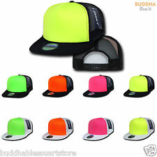15 LOT DECKY FOAM MESH FLAT BILL NEON TRUCKER HATS HAT CAP TWO TONE WHOLESALE