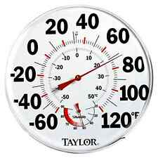 Large Humidiguide Dial Thermometer Built For Indoor Or Outside (12-Inch), New