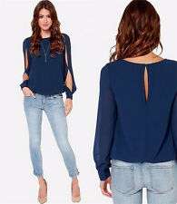 New Fashion Women Sexy Loose Hollow Chiffon Tops Long Sleeve Shirt Casual Blouse