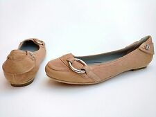 Hugo Boss Women's Size Euro 37 US 6.5 Nude Beige Leather Ballet Flats