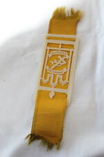 ANTIQUE CELLULOID NO CROSS NO CROWN DISK W/ GOLD SATIN RIBBON MEDAL? BOOKMARK ?