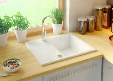 ONE BOWL GRANITE KITCHEN SINK 575x465 DRAINER FULLY REVERSIBLE WHITE WITH SIPHON