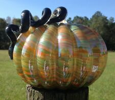 Handblown Art Glass Pumpkin Orange Green Swirl w Curly Stem Fall Harvest