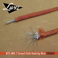 Luxe#22 AWG Cloth 7-la plage Copper Hook-up wire orange Best vintage quality!