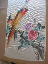 Antique Chinese Hand Embroidery Birds of Paradise tapestry on silk