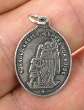 GUARDIAN ANGEL / ST. JOSEPH Medal, silver, cast from antique French original