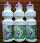 3 Vintage NOS Water Bottle RANDONNEUR Pink High Wheeler PENNY FARTHING Porteur