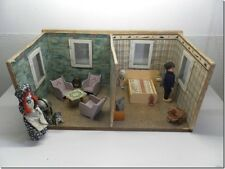 Antique European Early 1900s Wooden Two Room Dollhouse with Accessories