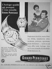 PUBLICITE 1957 MONTRE GIRARD PERREGAUX GYROMATIC HORLOGER QUALIFIÉ -ADVERTISING