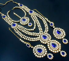 BLUE CZ GOLD TONE NECKLACE SET BOLLYWOOD RANI HAAR PARTY WEAR BRIDAL JEWELRY