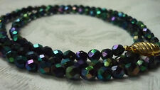 VINTAGE 1950s PEACOCK CARNIVAL GLASS LONG FACETED NECKLACE GOLD COLOURED CLASP