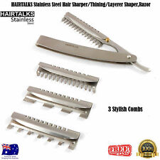 HAIRTALKS Steel Hair Sharper/Thining/Layerer Shaper,Razor Blades+3 Cutting Combs
