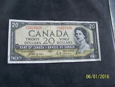 1954 $20 Dollar Bank of Canada note Devil's face Coyne-Towers  B/E 3327958