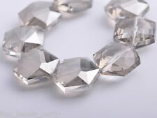 5pcs 20mm Hexagon Faceted Glass Crystal Charms Loose Spacer Beads Light Gray