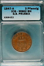 1847-A ICG MS62 Brown G.S. PRUSSIA 3 Pfenning KM#453! #B7034