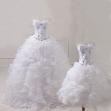 White Two Piece Quinceanera Dresses Detachable Skirt Organza Ball Formal Gown