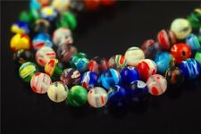 6mm Stone Round Colorful Flower Millefiori Glass Beads Craft Jewelry Making