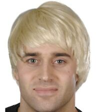 80s 90s Guy Wig Pop Star Band Short Fancy Dress Blonde New by Smiffys