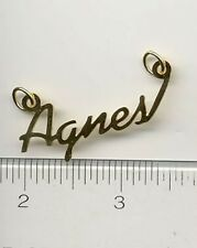 "14KT GOLD EP ""AGNES"" PERSONALIZED NAMEPLATE WORD CHARM"