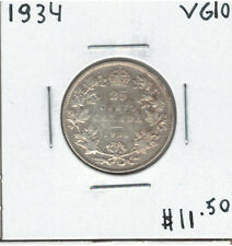 Canada 1934 Silver 25 Cents VG10 Lot#3
