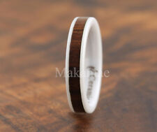 4MM  White Ceramic Inlaid Koa Wood Ring Flat
