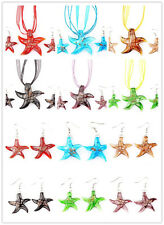 Wholesale lots 6set Murano Glass Starfish Pendant Silver T Necklace Earring FREE