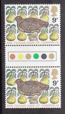 1977 GB Traffic Light Gutter Pair of Stamps- Partridge in a Pear Tree 9p -  MNH