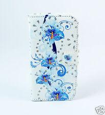 HTC One M9 - Case Flip Etui Tasche Hülle Orchideen blau weiß Strass