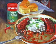 Red Beans & Rice Zatarain's New Orleans Baltas Matted Art Print Cajun Creole