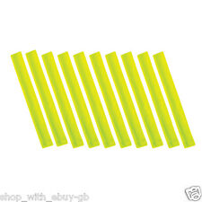 10 X HIGH VISIBILITY SLAP ARM BANDS WRIST BAND REFLECTIVE VIZ STRAP - YELLOW