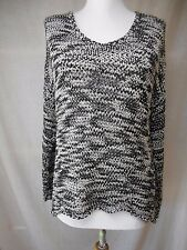 Eileen Fisher Loose Knit Hi-Lo Sweater Sz M Black White Scoop Neck Cotton PM