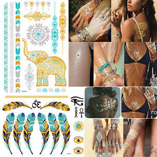 Gold Silver Metallic flash Temporary tattoos Stickers Temporary Body Art Tattoo