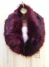 New Ladies Burgundy Red Faux Fur fluffy Collar Scarf