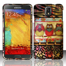 Samsung Galaxy Note 3 Rubberized HARD Case Snap On Phone Cover 3 Owls