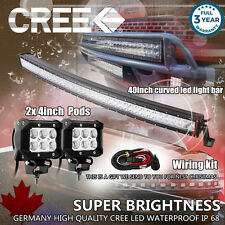 "40 inch Curved LED Light Bar + 2× 4"" CREE LED Pods Ford Jeep Truck Offroad SUV 3"