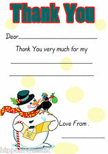 Christmas Thank You Notes x 20 A5 with envelopes - Snowman H1406