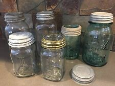 Collection of 6 Vintage Canning Jars Ball, Atlas Green/Clear Glass Zinc lids