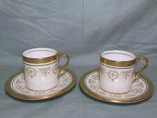 2 Aynsley Gold Dowery Bone China Coffee Cans Cups & Saucers 7892