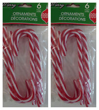 "New 6"" Plastic Candy Canes Christmas Tree Ornament Acrylic ~ 12 Red and White"