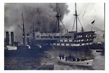 rp17659 - Royal Navy Warship - HMS Wellesley on fire - photo 6x4