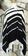 CHICOS Sydney Stripe Susan Poncho Top Black Off-White Chico's O/S 1 2 3 M L XL