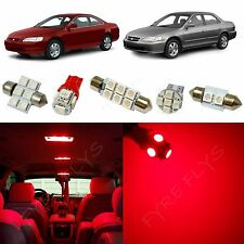 9x Red LED lights interior package kit for 1998-2002 Honda Accord HA3R