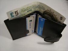 Cuero de crédito tarjeta titular con espacio para papel dinero botón Más Delgado Negro